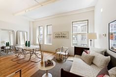8 Of NYC's Cutest, Tiniest Apartments On The Market Right Now #refinery29  http://www.refinery29.com/current-new-york-smallest-apartments#slide-2  Let the light shine in — all of it.
