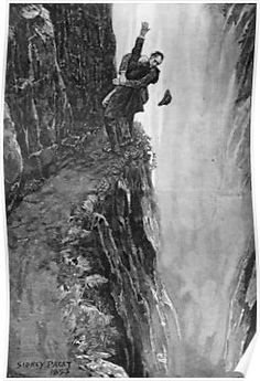 Print of Holmes and Moriarty fighting over the Reichenbach Falls. Illustration for the short story The Final Problem by Arthur Conan Do, Artist: Paget, Sidney Edward The Reichenbach Fall, Sherlock Holmes, Watson Sherlock, Jim Moriarty, Sir Arthur, Arthur Conan Doyle, Benedict Cumberbatch, Professor, The Final Problem