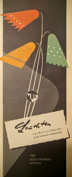 1956 Lamp. VEB Leuchtenbau Leipzig, DDR Werbung, GDR, East Germany,  1956