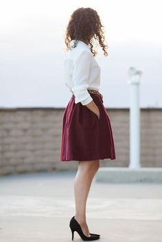 Fall burgundy skirt with black shoe/pump, white button up shirt/blouse and leopard print belt, work, dressy casual