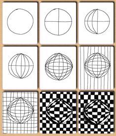 Fru Billedkunst - NY ADRESSE - www.FruBilledkunst.dk: Op art - 2.del: kugler #3ddrawingeasy