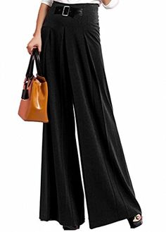 Lixmee Womens Pleats Palazzo Women Pants Black Small * Read more reviews of the product by visiting the link on the image.