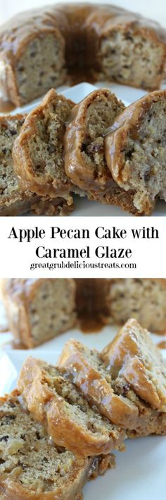 Apple Pecan Cake with Caramel Glaze
