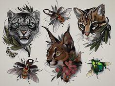 Neo Traditional Art, Traditional Tattoo Flash, American Traditional, Neotraditionelles Tattoo, Hand Tattoos, Tattoo Leopard, Bookish Tattoos, Lioness Tattoo, Skull Anatomy