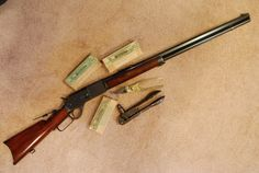 Original Winchester 1876 - with factory sling swivels and special order long range tang and adjustable front globe sights. Airsoft Guns, Shotguns, Firearms, Revolvers, Lever Action Rifles, Bolt Action Rifle, Hunting Rifles, Elk Hunting, Weapon Of Mass Destruction