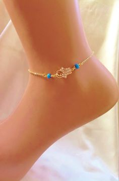 Gold hamsa Hand Anckle Bracelet ,Bridesmaid Gift,Gold Anklet,Summer Jewelry,Pool Jewelry,Rhinestone Anklet,Fashion Accessory by nalancavdar on Etsy