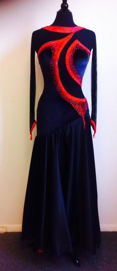 Black and Red Dance Dress Black Dance Smooth Dress Dance Smooth Dresses - Latin Ballroom Dresses, Ballroom Dancing, Red Chiffon, Chiffon Skirt, Creation Couture, Skating Dresses, Dance Wear, Designer Dresses, Nice Dresses