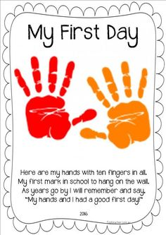 A great first day activity. Record stduents handprint to send home for parents…