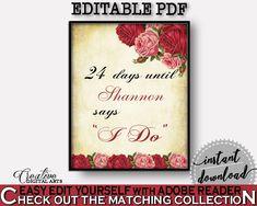 Days Until I Do Bridal Shower Days Until I Do Vintage Bridal Shower Days Until I Do Bridal Shower Vintage Days Until I Do Red Pink pdf XBJK2 #bridalshower #bride-to-be #bridetobe