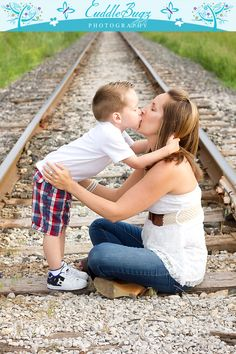 Mother/Son pose train tracks