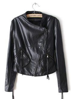 Black Long Sleeve Zipper Pockets PU Jacket EUR€36.03
