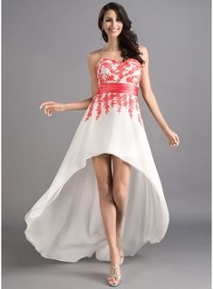 A-Line Princess Sweetheart Asymmetrical Chiffon Prom Dress With Sash  Appliques Lace 018046257 bc4c410b794