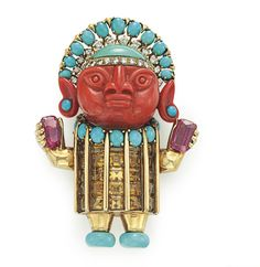 A Multi-Gem and Diamond Brooch, by Donald Claflin, Tiffany & Co. – Designed as a pre-Columbian figure with a circular-cut diamond and turquoise headdress, atop the carved coral face, to the oval-shaped turquoise and rectangular-cut citrine ceremonial dress with turquoise feet, in each gold hand a rectangular-cut pink tourmaline, 1967, 2 7/8 ins., mounted in gold Signed Tiffany & Co., designed by Donald Claflin. Estimate: $15,000-20,000