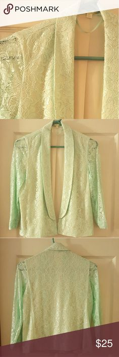 "Mint Green Lace Blazer/Jacket. Color: ""Crystal"" Nylon/rayon with polyester lining. Sleeves not lined. 3/4 sleeves. Open front. No buttons or pockets. Chest - 36"" Waist - 34"" Sleeve - 19"" Length - 22"" Gianni Bini Jackets & Coats Blazers"