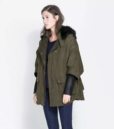 655fed3f6bf ZARA KHAKI COMBINATION PARKA JACKET FAUX FUR COLLAR GREAT FOR ALL SEASONS  #fashion #clothing