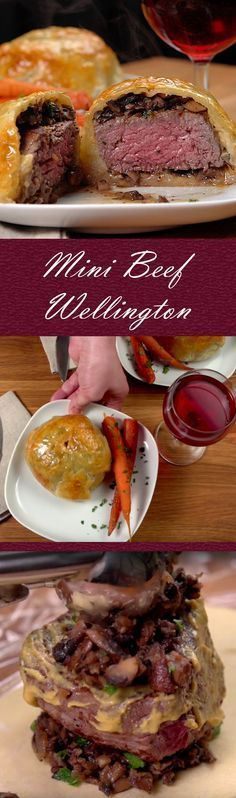 Mini Beef Wellington Recipe Impress guests or the family with this sophisticated dish. With some careful preparation time, you can make this impressive meal at a fraction of the cost of the restaurant version. Key components include filet mignon, baby b Bife Wellington Individual, Mini Beef Wellington, Wellington Food, Gordon Ramsey Beef Wellington, Fingerfood Recipes, Meat Recipes, Healthy Recipes, Recipies, Fondue Recipes
