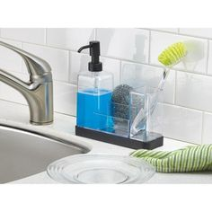 InterDesign Forma Kitchen Soap Dispenser Pump, Sponge, Scrubby and Dish Brush Caddy Organizer, Clear/Black Matte