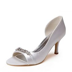 Tasteful Satin Peep Toe Ivory Pumps with Rhinestone Wedding Shoes – USD $ 79.99