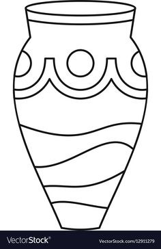 Ceramic vase icon simple style vector image on VectorStock Free Coloring Pages, Coloring For Kids, Mosaic Drawing, Candle Drawing, Tracing Shapes, Outline Illustration, Coloring Pages Inspirational, Mosaic Flowers, Paper Artwork