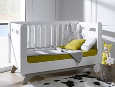 Cuna bebé 70x140cm, color Blanco/Abedul, modelo FELIZ
