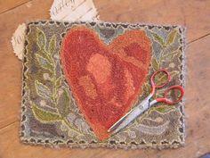 Folk Heart Punch Needle Mat ~ ©Notforgotten Farm offered on Early Work Mercantile