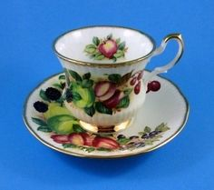 Stunning Antique Fruit Series Queen's Rosina China Tea Cup and Saucer Set | eBay