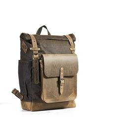 Olive waxed canvas leather backpack with molle grid. Leather crossbody bag.