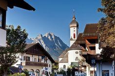 Garmisch-Partenkirchen a beatiful mountain town in Bavaria, southern Germany