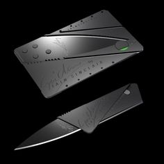Cardsharp Utility Knife (size of credit card)  CardSharp a superlight and supersharp utility knife, the same size as a credit card. Just three ingenious folding operations metamorphosise the card into an elegant pocket utility tool. Slimmer and lighter than an ordinary knife