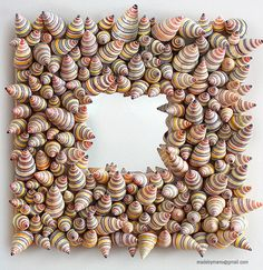 One of a kind shell mirror colorful fun and funky by madebymano