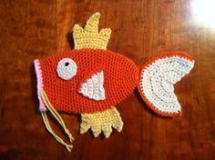 Magikarp Pokemon Crochet Pattern Drawstring Bag Dice Bag Clutch Purse PDF pattern by Kim Novak