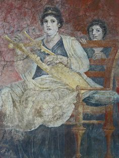 Fresco of a Seated Woman playing a Kithara from the reception hall of the villa of P Fannius Synistor at Boscoreale Italy Late Roman Republican Period 50-40 BCE (4) by mharrsch, via Flickr