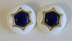 Vintage large white and blue stud earrings by Antiqueandsupplies