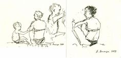 """""""Mediterranean sea #4 (set of two sketches)"""" by Dima Braga. Ink drawing on Paper, Subject: People and portraits, Graphic style, One of a kind artwork, Signed on the front, This artwork is sold unframed, Size: 29.3 x 14 x 0.1 cm (unframed), 11.54 x 5.51 x 0.04 in (unframed), Materials: Ink drawing on paper"""