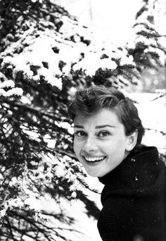 Audrey photographed by her husband Mel Ferrer in St. Moritz, Switzerland, 1954.