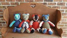 """Memory Bears continue to be popular! Shown here are 4 sweet girl bears made in honor of a loving mother. MQBM needs 3-5 garments to make each 20"""" bear. Thick fabrics like fleece work beautifully in these and make them so huggable! Learn more here: Memory Bears, Memory Quilts, Sweet Girls, Quilt Making, Making Out, How To Memorize Things, Fabrics, Memories, Popular"""