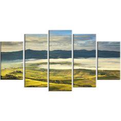 DesignArt 'Tuscany Farmland and Green Fields' 5 Piece Wall Art on Wrapped Canvas Set