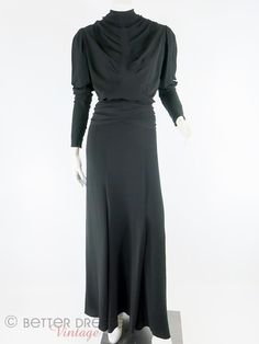True Vintage 1930s Black Silk Crepe Gown Dressmaker Made in France Couture Quality sm by Better Dresses Vintage