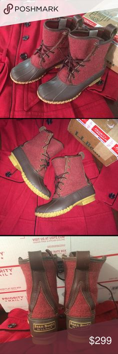 """❤️RARE LIMITED EDITION‼️LL Bean Boots L.L. Wool ‼️NOT AVAILABLE ANYWHERE‼️  ❤️RARE LIMITED EDITION RED WOOL❤️  WOMENS Size 7. Approximately 8"""" height. Waterproof. Authentic LL bean boots.  Super Cute! Tons of Compliments!   ❤️Excellent Condition. When wearing they look almost like NEW!   Shipped quickly in a priority mail box.  Run big. Women's.  Normal wear,marks,scuffs,spots,a little wear on heel,see all pics. ❤️Less on Merrc.$249. L.L. Bean Shoes"""