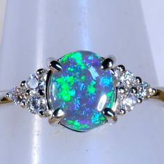 Awesome Solid Australian Black Opal & 6 diamond Solid 18ct