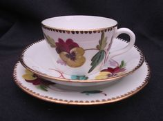 ANTIQUE UNMARKED CUP, SAUCER & PLATE  (TRIO) HAND-PAINTED c1870 - 1880