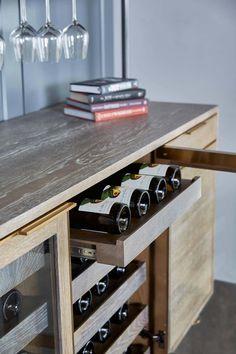 Amuneal's Loft 3 Post Back Bar Unit – Wine Venues Bar Storage Cabinet, Wine Storage, Wine Shelves, Oak Shelves, Glass Shelves, Bar Furniture For Sale, Furniture Ideas, Bar Unit, Bar Cart Decor
