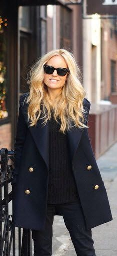 pea coat and shades