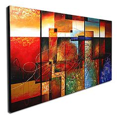 abstracto moderno listo para colgar la pintura al óleo lienzo estirado (juego de 5) - USD $ 119.99