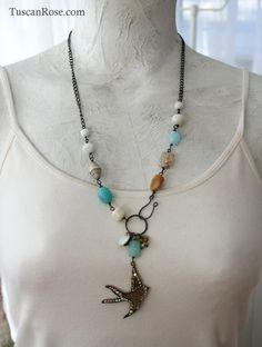 Rhinestone Bird - Beaded Necklace - romantic gypsy