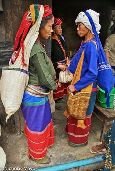 Golden Palaung women (of Shan State, Burma) with head bags.