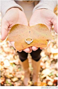 fall/autumn engagement session - ring shot - mountains - leaf Just a Dream Photography