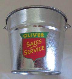 "NEW OLIVER ""SALES & SERVICE LOGO"" GALVANIZED PAIL  LOGO USED 1952-1958"