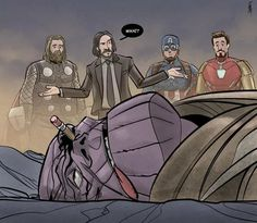 "Funny movie pictures of thanos getting killed by John Wick while (Marvel's) avengers stand and watch in awe. ""John Wick for avenger""! Marvel Jokes, Funny Marvel Memes, Dc Memes, Avengers Memes, Funny Comics, Avengers Comics, The Avengers, Marvel Art, Marvel Heroes"