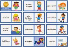 """Ideenreise: Großes Materialpaket """"Sommerliche Aktivitäten"""" für DAZ German Language Learning, Montessori, School Themes, Teaching Materials, Summer Activities, Kids Learning, Teacher, Blog, English"""